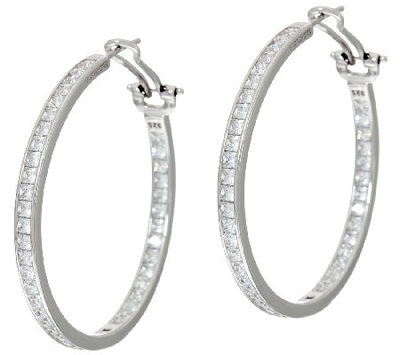 "Diamonique 4.30 cttw 1-1/2"" Round Hoop Earrings, Sterling"