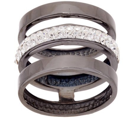 """As Is"" Silver Style Triple Row Crystal and Polished Stack Ring"