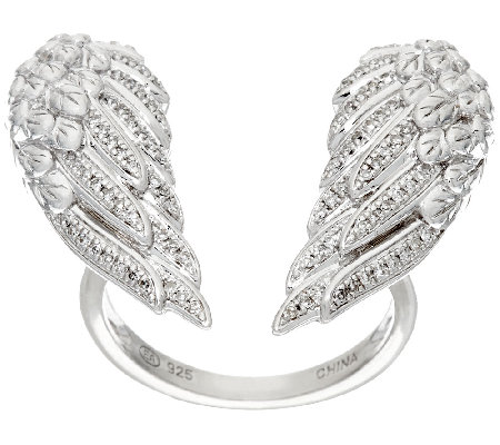 Open Angel Wing Diamond Ring, Sterling, 1/5 cttw, by Affinity