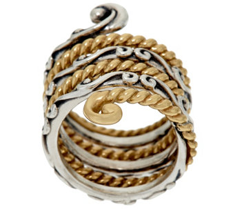 Carolyn Pollack Sterling & Brass Ribbed & Scroll Ring - J326055