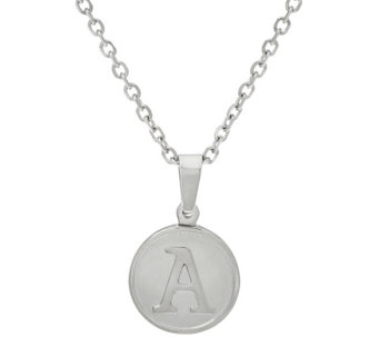 "Stainless Steel ""One of a Kind"" Initial Round Charm Necklace with 18"" Chain - J326755"
