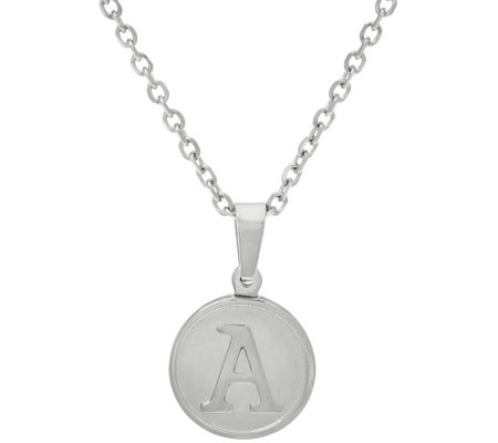 "Stainless Steel ""One of a Kind"" Initial Round Charm Necklace with 18"" Chain"
