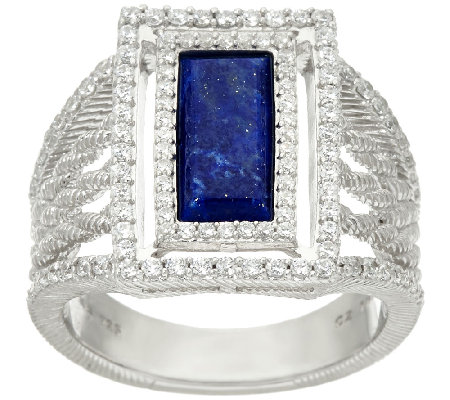 Judith Ripka Sterling Lapis & Diamonique Ring
