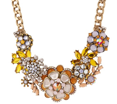 "Joan Rivers Jeweled Bouquet 18"" Statement Necklace with 3"" Extender"