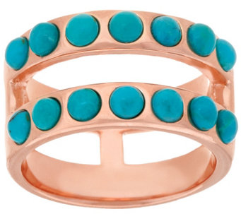 """As Is"" Bronze Double Row Turquoise Band Ring by Bronzo Italia - J328355"