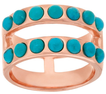 """As Is"" Bronze Double Row Turquoise Band Ring by Bronzo Italia"