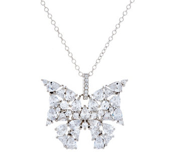Diamonique Mixed Cut Butterfly Pendant w/ Chain, Sterling - J329555