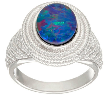 """As Is"" Australian Opal Triplet Sterling Silver Textured Ring"