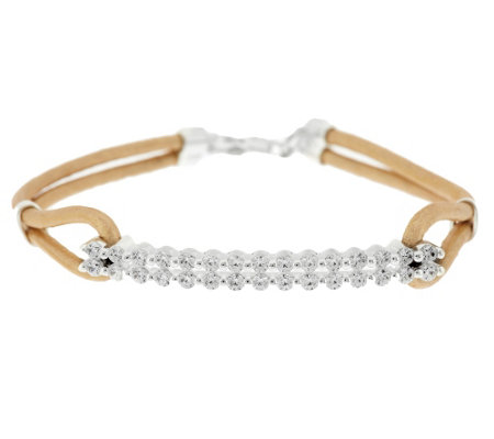 """As Is"" Diamonique 1.15 ct tw Bar & Leather Cord Bracelet"