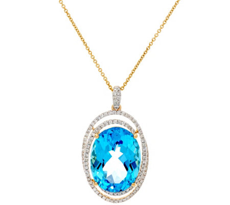 20 ct Swiss Blue Topaz & 7/10 cttw Diamond Pendant on Chain, 14K