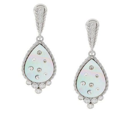 """As Is"" Judith Ripka Diamonique & Mother-of-Pearl Drop Earrings"