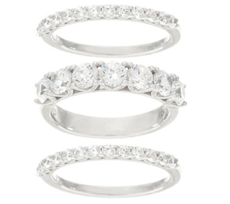 Diamonique Set of Three Band Rings, Platinum Clad