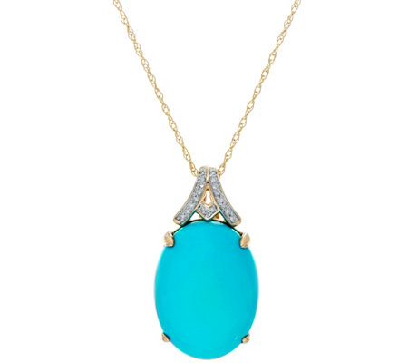 Sleeping Beauty Turquoise & Diamond Enhancer on Chain, 14K Gold