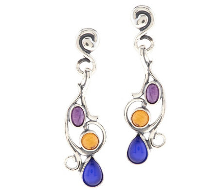 """As Is"" Carolyn Pollack Sterl. &Multi-Gemstone Scroll Dangle Earrings"