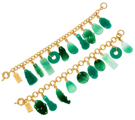 """As Is"" The Elizabeth Taylor Set of 2 Simulated Jade Charm Bracelets"