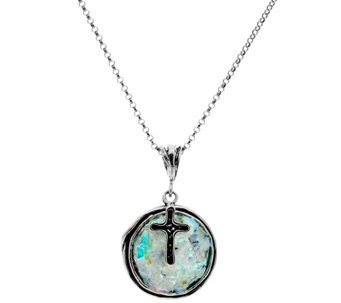 "Sterling Silver Roman Glass Pendant w/Charm on 18"" Chain by Or Paz - J333955"