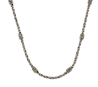 """As Is"" JAI Sterling Croco Station Woven Link Chain 20"" Necklace - J334155"