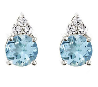 Premier 1.20 cttw Aquamarine & 1/10cttw Diamond Earrings, 14K - J336155