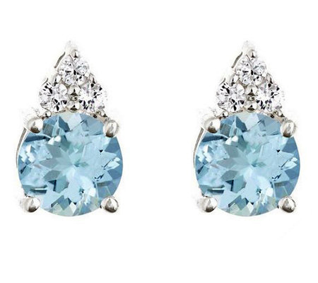 Premier 1.20 cttw Aquamarine & 1/10cttw Diamond Earrings, 14K