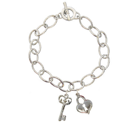 Catherine Galasso Heart and Key Charm Bracelet