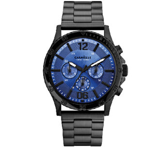 Caravelle New York Men's Black Stainless Blue Faced Watch - J336855
