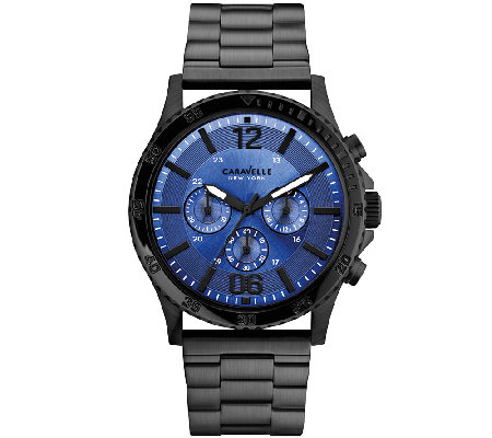 Caravelle New York Men's Black Stainless Blue Faced Watch