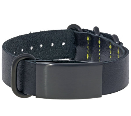 Men's Stainless Steel and Leather Identification Bracelet