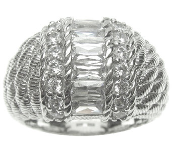 Judith Ripka Sterling Channel-Set Baguette Dome Ring - J337955