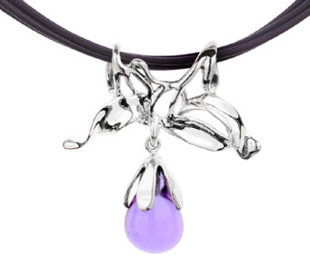 Kalos by Hagit Sterling Lavender Glass & Leather Necklace - J338055