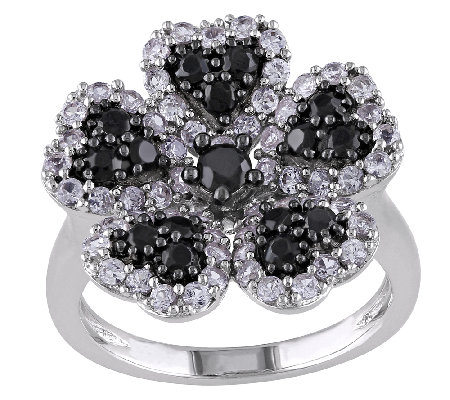 Sterling Black Spinel & Created White SapphireFlower Ring