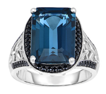 15.00 cttw London Blue Topaz & Black Spinel Ring, Sterling - J338655