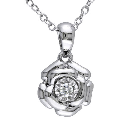 Diamond Flower Pendant w/ Chain, Sterling, by Affinity