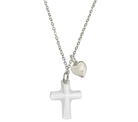 "Catherine Galasso Crystal Cross & Heart Pendantw/ 18"" Chain"