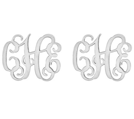 Small Polished Monogram Earrings, 14K Gold