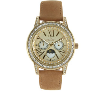 Peugeot Women's Suede Strap Moon Phase Watch - J341155