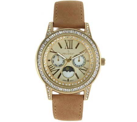 Peugeot Women's Suede Strap Moon Phase Watch