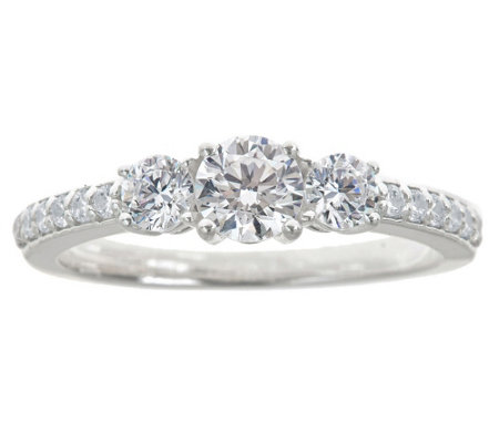 3-Stone Diamond Ring w/ Pave Accents, 1.00 cttwby Affinity