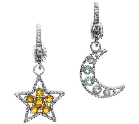 Judith Ripka Sterling Gemstone Moon and Star Charm Set