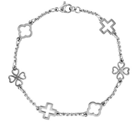 "Steel by Design Cross & Clovers 7-1/2"" Bracelet"