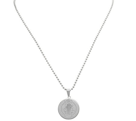 Stainless Steel Benedictine Blessing Round Pendant