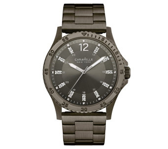 Caravelle New York Men's Gunmetal Watch w/ Crystal Markers - J344455