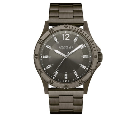 Caravelle New York Men's Gunmetal Watch w/ Crystal Markers
