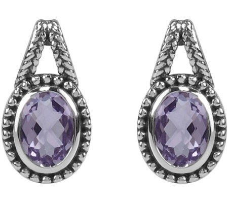 1.00 cttw Oval Amethyst Earrings, Sterling