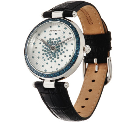Colored Diamond Scattered Design Leather Strap Watch 1.00 cttw
