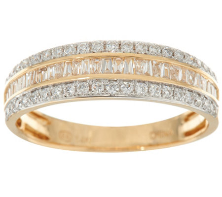 Baguette & Round Diamond Band Ring, 14K 1/2 cttw by Affinity
