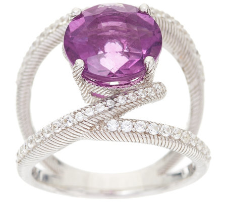 Judith Ripka Sterling Silver Purple Fluorite & Diamonique Open Ring