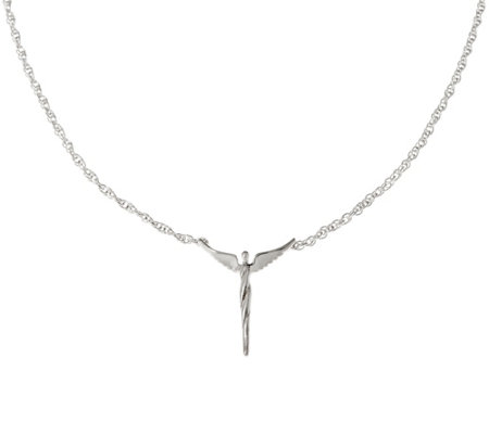 """As Is""Sterling Silver Petite Angel Necklace by Steven Lavaggi"