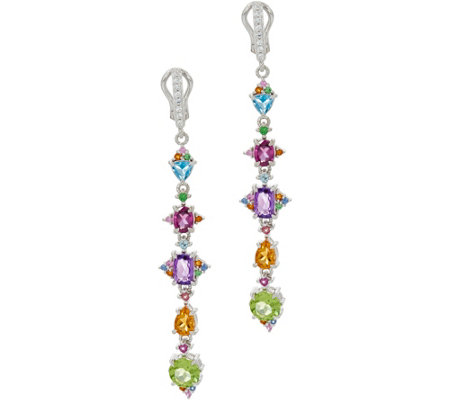 Judith Ripka Sterling Silver 4.75 cttw Multi Gemstone Linear Earrings
