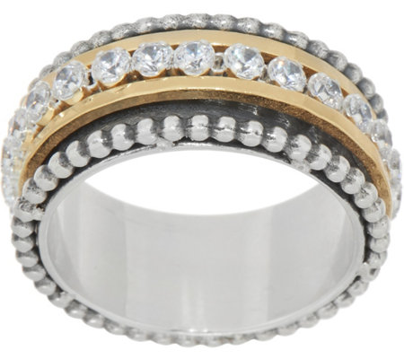 Or Paz Sterling Two-tone Crystal Spinner Ring