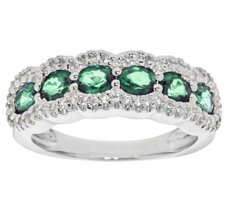 """As Is"" Precious Gemstone & White Zircon Sterling Ring"